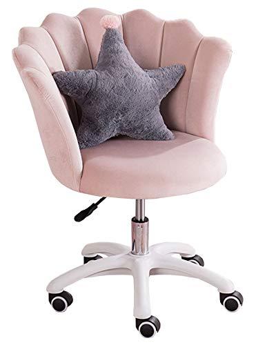 HYXI-Chair Silla giratoria de Terciopelo para Oficina en casa, Silla de Escritorio con Almohada para Sala de Estar, Oficina en casa, Rosa