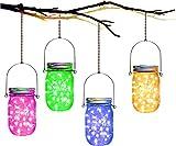 Mason Jar Solar Lantern Lights,4 Colors 30 Led Lights Starry Star Fairy Firefly Jar Lights,for Outdoor Patio Garden Yard Mason Jar Wedding Table Decor Solar Fairy Lights(Mason Jars/Hangers Included)