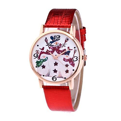 Naisde Reloj de Dibujos Animados de Cuarzo de Las Mujeres del muñeco de Nieve Reloj de Dibujos Animados de Cuarzo con Brazalete de Cuero Tema de Navidad Reloj de Pulsera Batería incorporada