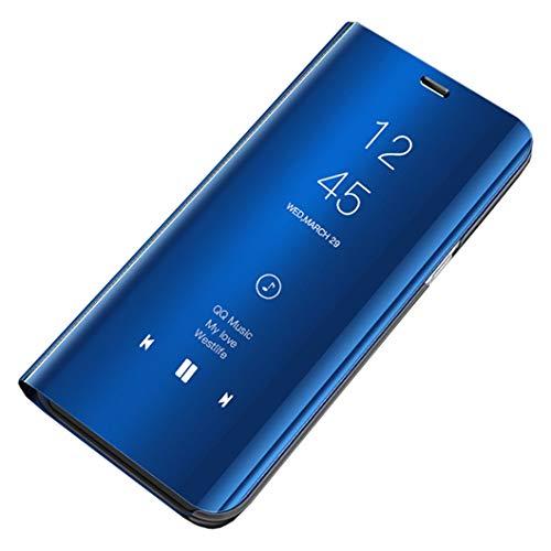 Jacyren Galaxy S10 Clear View Leder Hülle Cover, Galaxy S10 Handyhülle Spiegel Schutzhülle Flip Tasche Case, Stand Feature Schutz Schale Etui Hülle für Samsung Galaxy S10 (Galaxy S10, Blau)