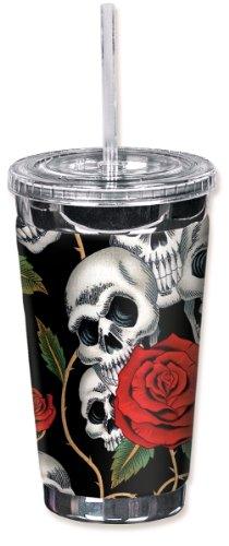 Mugzie 948-TGC Skull & Roses To Go Tumbler with Insulated Wetsuit Cover, 16 oz, Black by Mugzie