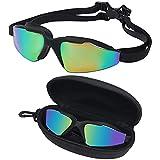 Bezzee Pro Gafas de Natación - gafas natacion antivaho Protección UV con Estuche de Almacenamiento – Herméticas y Correa de Silicona Ajustables para Adultos, Hombres, Mujeres, Jóvenes – Puente Nasal