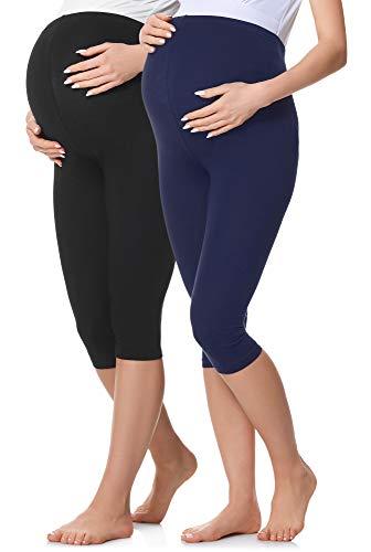 Be Mammy Leggins Premamá 3/4 Embarazo Ropa Deporte 2Pack BE20-229 (2Pack Negro/Azul Marino, XL)