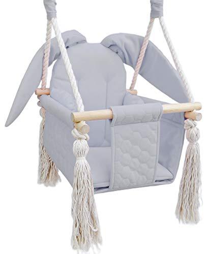 Baby Schaukel outdoor indoor - Kinderschaukel Babyschaukel für Türrahmen Kinderschaukelsitz Teddy grau (Grau, Hase)
