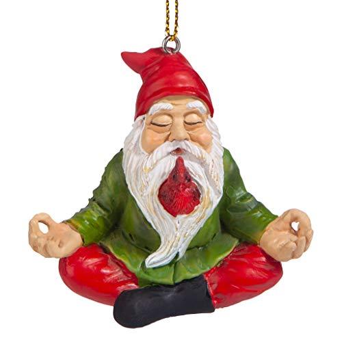 Design Toscano QM17010 Christmas Ornament - Garden Gnomes Figurine - Zen Garden Gnomes - Meditating Gnome Statues, 3 Inch