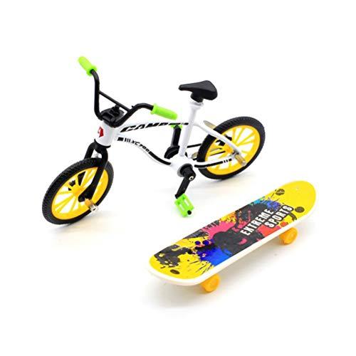 STOBOK Mini Griffbrett Skateboard und Fahrrad Spielzeug Pädagogisches Finger Spielzeug Mini Finger Sport Spielzeug für Jungen Kind Kinder (zufällige Farbe)
