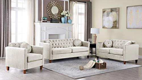Container Furniture Direct Kitts Classic Chesterfield Upholstered Sofa, Loveseat and Chair Set, Beige