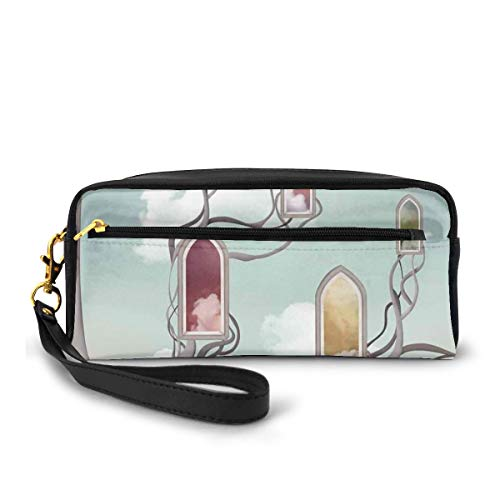 Pencil Case Pen Bag Pouch Stationary,Colored Mirrors Over Tree Branch Clouds Dream Room of Sky Surreal Unusual Graphic Work,Small Makeup Bag Coin Purse