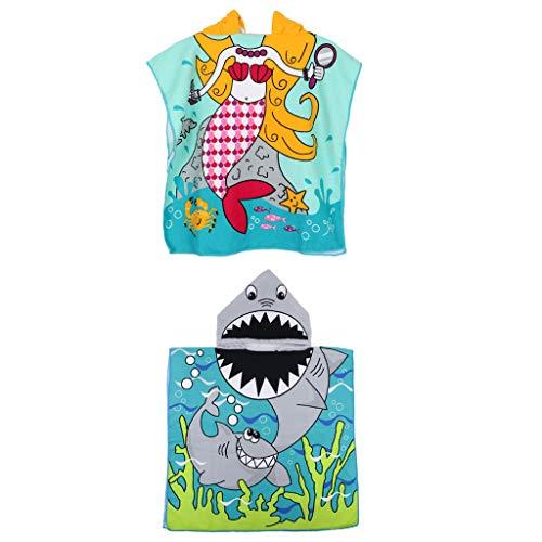 Kinder Badeponcho Bademantel Kapuzenhandtuch 2er Pack für Jungen Mädchen