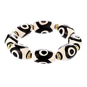 Prime Fengshui Schützendes ovales schwarz-weißes, tibetisches Dzi-Perlen-Armband, Amulett-Armreif, zieht positive Energie und Glück an.