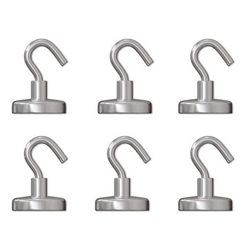 GAUDER Magnethaken | Starke Magnete mit Haken | Magnetische Haken aus Neodym (6 Stück)