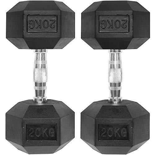 Digital Techno Pair of Hex Hand Weight Dumbbells Rubber Encased & Chrome Hexagonal Case Iron Dumbbell Set 20kg, 30kg and 40kg (40)