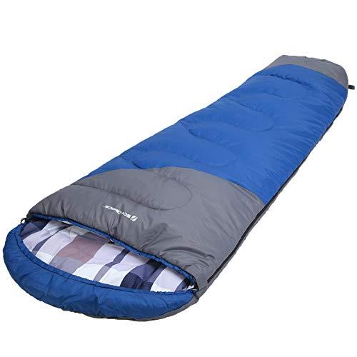SONGMICS Schlafsack, Mumienschlafsack mit Kapuze, Kragen mit Kordelzug, für 5-15°C, 220 x 60-90 cm, mit Kompressionsbeutel, für alle 4 Jahreszeiten, Camping, Wandern, Reisen, blau-grau GSB10QG
