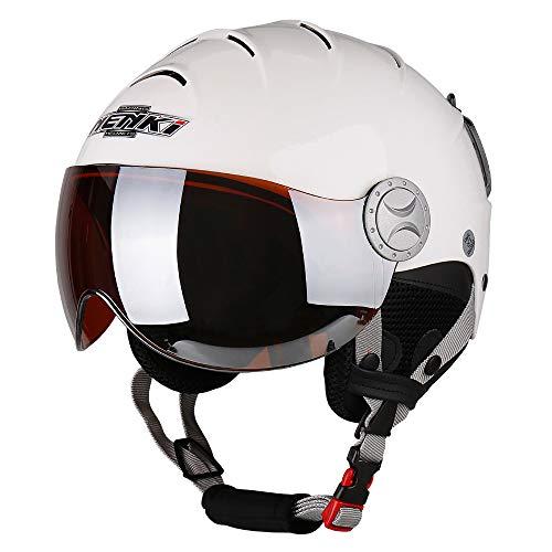 NENKI Ski Helmet with Visor Snow Sport Skiing Snowboard Helmets for Men Women & Young Anti Fog Visor NK-2012 (White,Orange Visor, Medium 22-22.5INCH)