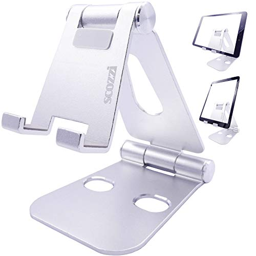 scozzi Tablet Ständer verstellbar faltbar Tisch Halterung Stativ Halter universal (kompatibel mit Apple iPad, Samsung Galaxy Tab, Huawei MediaPad) 11 4 3 S6 S5e S4 A E M6 M5 T5 Air Mini Pro Silber