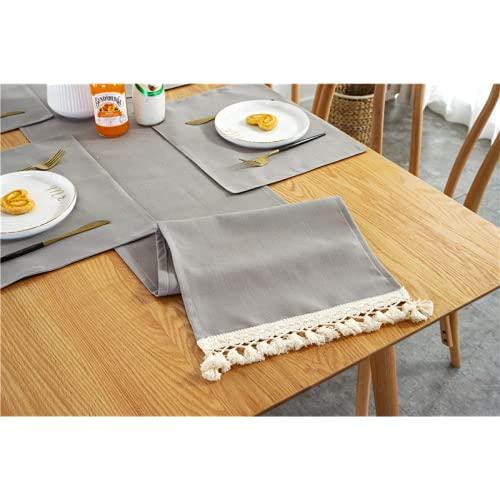 lixiangjia Juego de 4 manteles individuales y manteles individuales, resistentes al calor, antideslizantes, lavables, para cocina y comedor, color gris (30 x 160)
