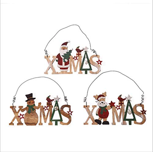 Jas creatieve kerstdecoratie, hanger van hout, houten letters van hout, open haard, sneeuwman, oude man om op te hangen