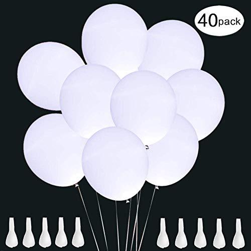 LED Luftballons Weiß, 40 Stücke Luftballons Hochzeit LED Leuchtende Luftballons mit 3 leuchtenden Modi, Led Ballons für Party Geburtstag Feiertag Hochzeit Weihnachten Karneval