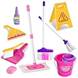 IndusBay® Cleaning Housekeeping Cleaning Mop Bucket Toy Play Set - 11 Pieces House Keeping Toy Set with Broom, Mop, Bucket, Caution Sign Board & Accessories (Assorted Color)