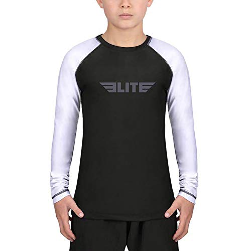 Elite Sports Rash Guards for Boys and Girls, Full Sleeve Compression BJJ Kids and Youth Rash Guard (White, X-Small)