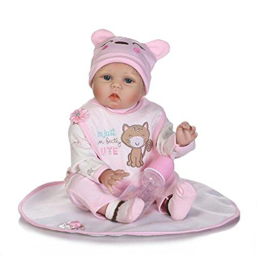 Npkdoll bébé poupée doux Simulation Silicone Vinyle 20–22 inch 48–55cm de vos vêtements Cute Girl avec de jolies Yeux Bleu ouvert Couverture Chapeau tétine aimantée 55-204IT