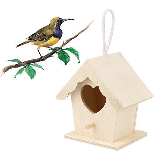ToDIDAF Holz-Vogelhaus, kreative Wandaufhängung, Holz-Vogelnest für den Außenbereich, Vogelhaus, Nest, Vogelhaus, Vogelhaus, Holzkiste für Zuhause, Garten, Dekoration, Zubehör