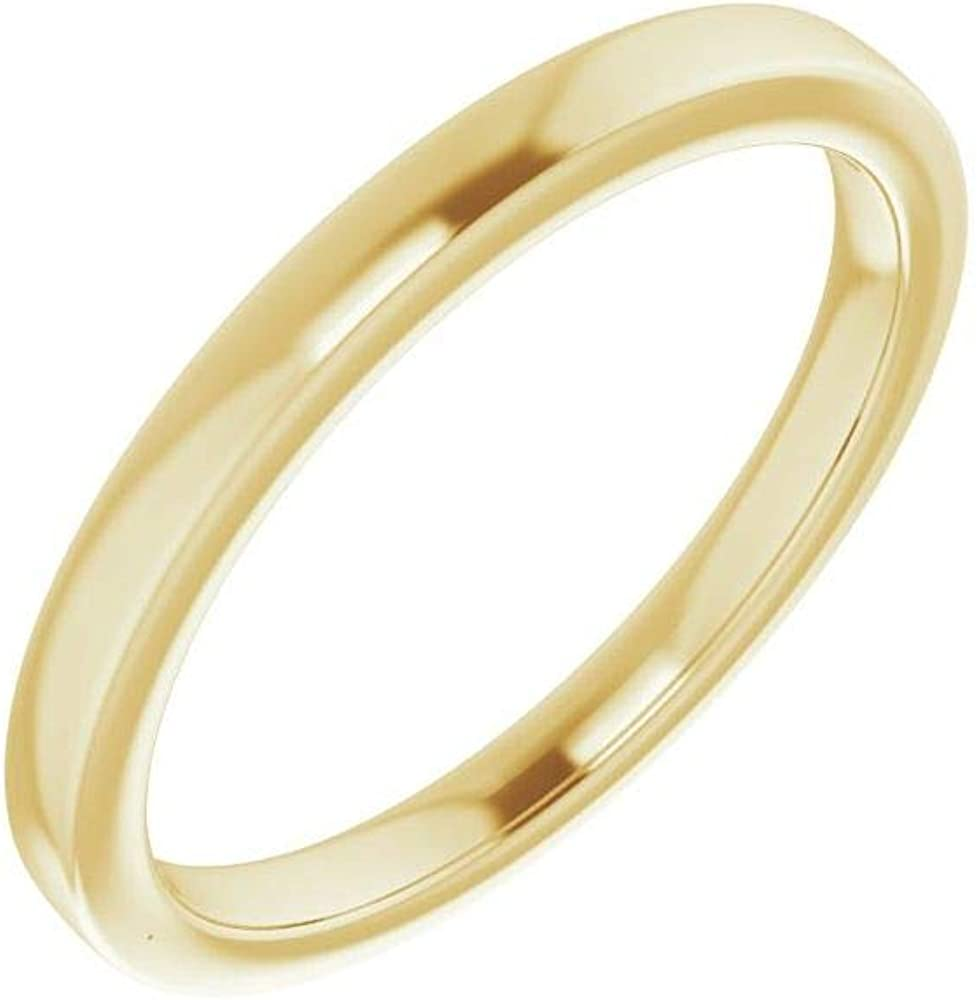 Solid Factory outlet 10K Yellow Gold Curved Notched Wedding Oakland Mall Band Round for 8mm