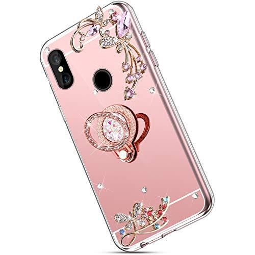 Ukayfe Compatibile con Xiaomi Redmi S2 Custodia,Specchio Silicone Cover Lusso Brillante Glitter Farfalla Fiore Strass Custodia con Tondo Anello Support Ultra Sottile TPU Case-Oro rosa