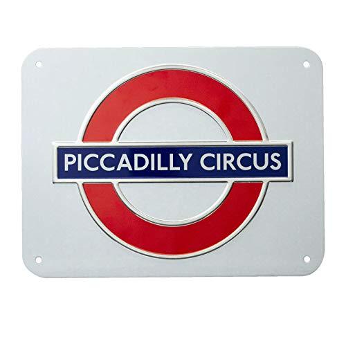 TFL London Underground Logo Piccadilly Circus 3D Metallschild Wanddekoration Platte Poster (Lilay)