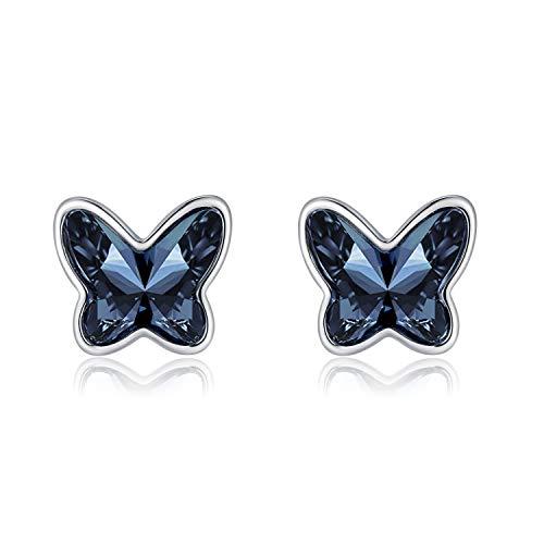 Pendientes de Botón Mariposa Cristal Azul Mujeres