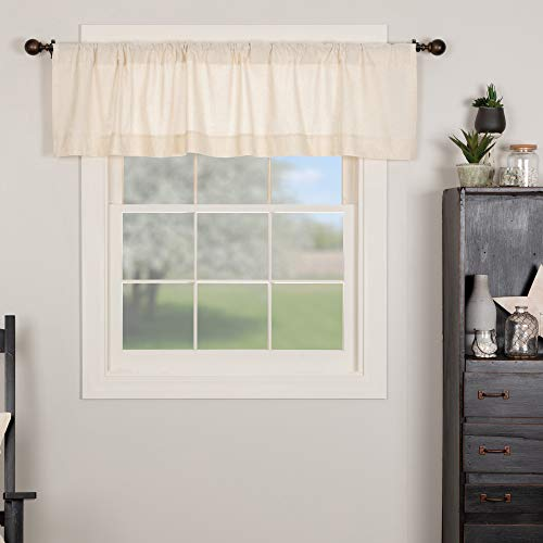Brooke Simple Valance Curtain, 72' W X 16' H, Natural Cream Linen Linen/Cotton Blend, Modern Country Urban Farmhouse Style Kitchen Curtain, Bathroom, Dining Room, Bedroom