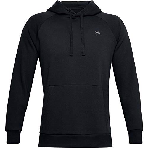 Under Armour RIVAL FLEECE HOODIE, sportlicher Kapuzenpullover mit loser Passform, bequemes und warmes Sweatshirt für Männer Herren, Black / Onyx White , XL