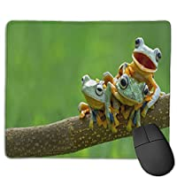 滑り止めマウスマット、Cute Frogs Artマウスパッドデスクトップ、コンピューター、PC、ラップトップ、オフィスおよび家庭用にカスタマイズ30x25 cm /11.8x9.8インチ