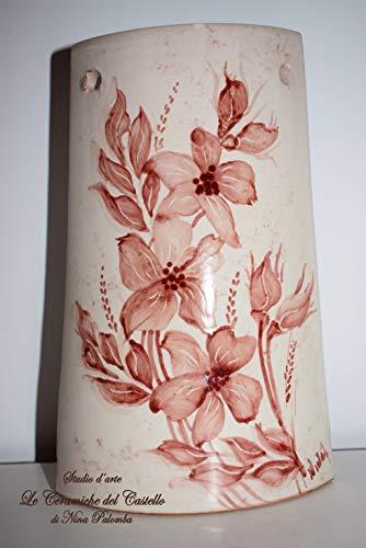 Tegola decorativa Linea Fiori del Sorriso Rosa Realizzata e Dipinta a Mano Le Ceramiche del Castello Nina Palomba Made in Italy Dimensioni 20 x 12 centimetri