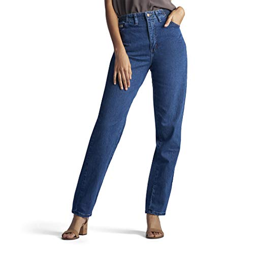 Lee Women's Missy Relaxed-Fit Side Elastic Tapered-Leg Jean, Pepper Stone, 14