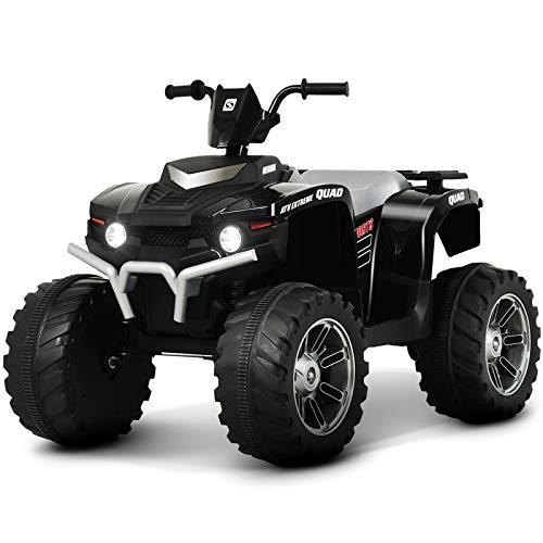 Uenjoy 12V Kids Electric 4-Wheeler ATV Quad Ride On Car Toy w  3.7mph Max Speed, Treaded Tires, LED Headlights, Music, Radio, Bluetooth, USB (Black)