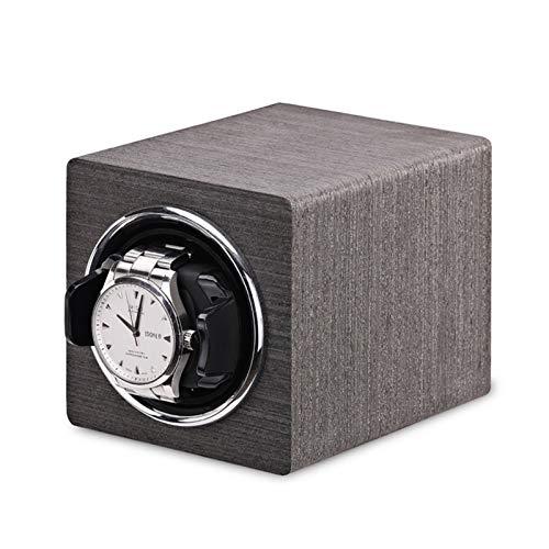 Reloj Winder Reloj Windoer - Mini relojes automáticos Blaning Box Watch Funda de almacenamiento Titular de la pantalla Organizador Mecánico Reloj Shaker Black Grey Battery + AC Power Home Hermosa apar