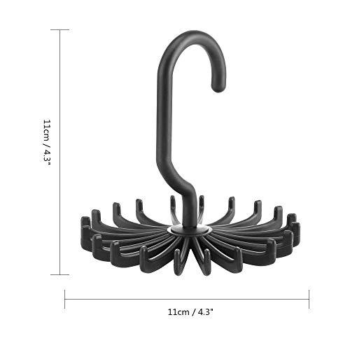 Percha TONGBOSHI 20 Lazos/Cinturones/Pañuelos Declara Percha plástico Mini Lazo Bastidores Gancho Giratorio Negro Lazo Blanco de Almacenamiento de Titular Bastidores Organizador de lavandería