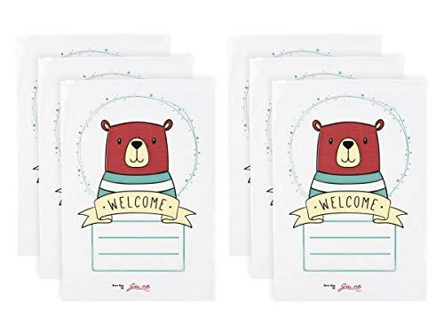 GIU.NE® Bolsas para ropa de bebé, 6 unidades, bolsas, bolsas para maleta de hospitalaria – Cierre con cursor hermético – Nacimiento niño – Idea regalo certificado ISO9001 – 100% reciclable (osito)