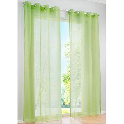SIMPVALE 2 Paneles Cortinas con Ojales Translúcida Visillos para Dormitorios Habitación Salón Balcón,Verde,140cm x 145cm