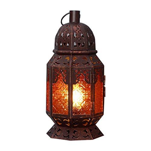 Lámparas de mesita de noche de hierro Night Lights huecas esculpidas románticas pequeñas lámparas de mesa lámparas de mesa de café de ocio, lámpara de escritorio LED (tamaño: S)