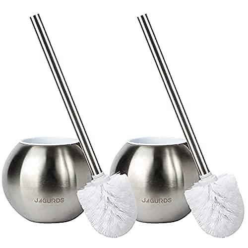 JAGURDS Toilet Brush with Holder - 2pc Stainless Steel Toilet Scrubber, Toilet Bowl Brush and Holder - Toilet Brushes for Bathroom