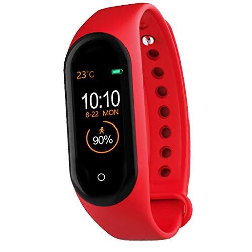 freneci Pedometro da Polso Smart Watch Contapassi Orologio Sportivo per Sport Cardiofrequenzimetro Smart Watch Bluetooth con Cardiofrequenzimetro - Rosso