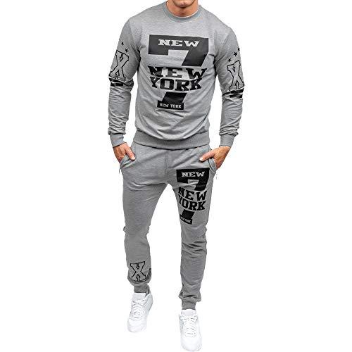 MRULIC Herren 2 Stück Sportswear Tops und Hosen Trainingsanzug Sports Suit Fitness RH-028(Grau,EU-46/CN-L)