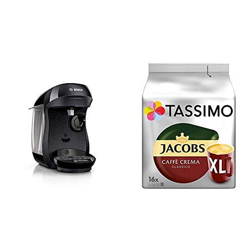 Bosch TAS1002 Tassimo Happy Kapselmaschine, über 70 Getränke, vollautomatisch, geeignet für alle Tassen, kompakte Größe + Tassimo Kapseln Jacobs Caffè Crema + Latte Macchiato + Milka + Probierbox