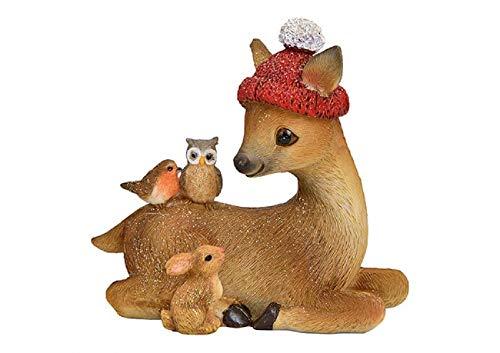 Bavaria Home Style Collection REH liegend mit Glitzer aus Poly Braun (B/H/T) 10 x 10 x 5 cm Deko für Weihnachten Dekofigur Advent I Süße REH Deko Figur mit Mütze I Deko REH für Haus und Garten