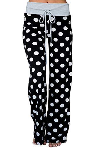 AMiERY Womens High Waisted Pants Soft Stretch Sleep Polka Dot Juniors Pants Pajamas Bottoms Wide Leg Pants Joggers Lounge Palazzo Pants Black L