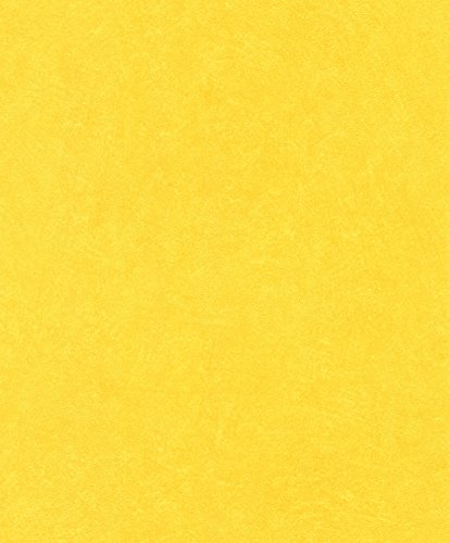 rasch Tapete 860177 aus der Kollektion b.b home passion VI – Einfarbige Vliestapete in Gelb mit körniger Struktur – 10,05m x 53cm (L x B)