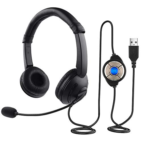 Outstanding Videojuegos Auriculares USB con Micrófono para Computadora Conversaciones Comerciales Auriculares Chat en Línea Auriculares Escuchar Música Audio MP3 Reproductor Altavoz sobre la Oreja
