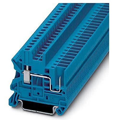 PHOENIX CONTACT UT 2,5/1P BU Durchführungsklemmenblock mit Schraub-/Steckverbindung, 2 Anzahl Anschlüsse, AWG 26-12, 2.5mm² Nennquerschnitt, Blau, 50 Stück